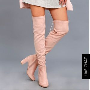 Chinese Laundry Over the Knee blush boots